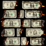 Burning dollars Royalty Free Stock Photos