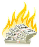 Burning dollars - money concept Royalty Free Stock Photos