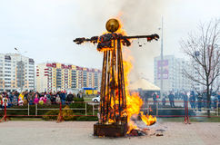 Burning down effigy of Shrovetide during Shrovetide celebrations Royalty Free Stock Photo