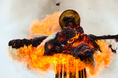 Burning down scarecrow of Shrovetide Royalty Free Stock Photos