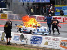 Burning drag car Royalty Free Stock Photography