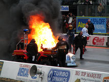 Burning drag car 3 Royalty Free Stock Photo