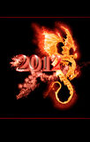 Burning dragon and 2012 year. On black background Stock Photo