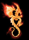 Burning dragon isolated Royalty Free Stock Image