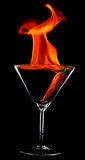 Burning drink in a glass for martini Stock Photography