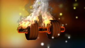 Burning dumbbell. alpha matted stock footage