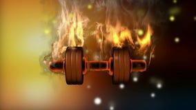Burning dumbbell. alpha matted stock video