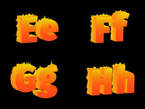 Burning of E, F, G, H letters. Burning the letters  E, F, G, H, on a black background Royalty Free Stock Image