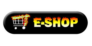 Burning e-shop button long Stock Photos