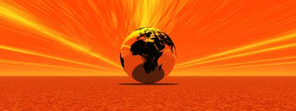 Burning earth. Earth alone by burning sunset raylight Stock Images