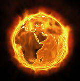 Burning Earth. Earth Burning and Melting. Global warming Royalty Free Stock Images