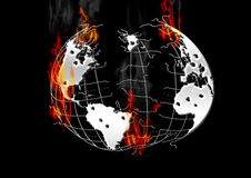 Burning earth. The outbreak of war, the earth in a disastrous state vector illustration