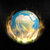 Burning earth - 3D render. Earth burning into the flames in dark universe with stars Stock Images