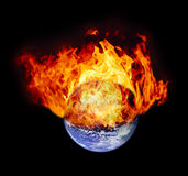 Burning earth globe Royalty Free Stock Photo
