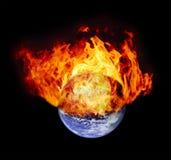 Burning earth globe. (without gloving) (elements furnished by NASA royalty free stock photo