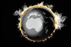 Burning Earth globe. 3d illustration Stock Photos