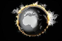 Burning Earth globe. 3d illustration Stock Photos
