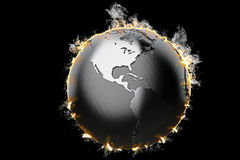 Burning Earth globe. 3d illustration.  Royalty Free Stock Photos