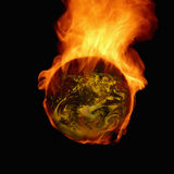 Burning earth. Results by global warming stock photography