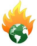 Burning eco earth globe illustration design. Over white Stock Image