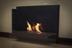 Burning eco fireplace. Royalty Free Stock Photos