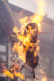 Burning effigies. On fire on a holiday winter expulsion Stock Photos