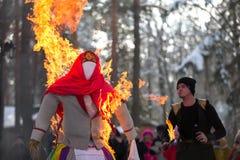 Burning an effigy royalty free stock image