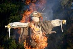 Burning of an effigy at the celebration of Maslenitsa.  Royalty Free Stock Images