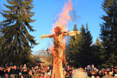 Burning of an effigy on a fire, Imperial Maslenitsa Stock Photos