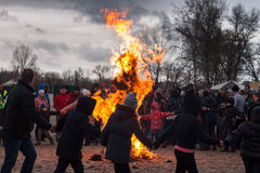Burning of the effigy Maslenitsa Royalty Free Stock Photography
