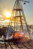 Burning effigy Maslenitsa at sunset. Russian spring holiday Maslenitsa Maslenica royalty free stock image