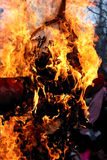 Burning effigy. Pancake week. Send-offs of winter. Traditional rite of the burning of the effigy Royalty Free Stock Photos