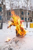 Burning effigy on Shrovetide Royalty Free Stock Images