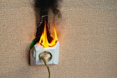 Burning electrical wiring and electrical outlet. Faulty wiring causes fires. Poor old wiring causes a fire in the electrical