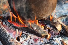 Burning embers close-up stock images