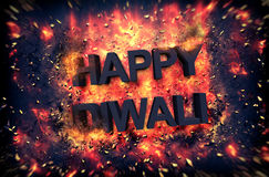 Burning embers surrounding Happy Diwali. Burning embers and exploding fire surrounding the phrase Happy Diwali over black background Royalty Free Stock Images