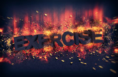 Burning embers surrounding the word exercise Stock Photo