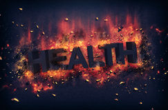 Burning embers surrounding the word health Royalty Free Stock Photo