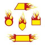 Burning emblems Stock Photos