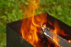 Burning en bois Photographie stock