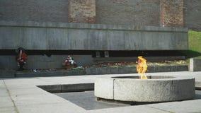Burning of Eternal Flame in Kremlin on Victory Day stock video footage