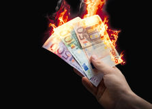 burning euro Royaltyfri Bild