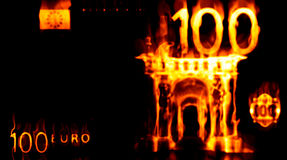 Burning 100 euro. Abstract background with burning money, 100 euro in fire Stock Illustration