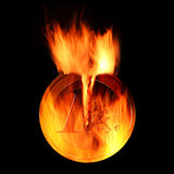 Burning euro. Coin isolated on black background 3D rendering Royalty Free Stock Images