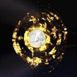 Burning Euro Coin Stock Photography