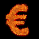 Burning european currency euro. Sign on black Royalty Free Stock Photography