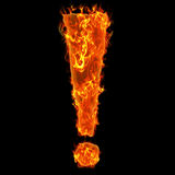 Burning exclamation mark. Flaming fiery exclamation mark at black background Stock Photo