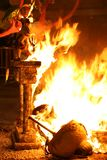 Burning Falla in Valencia. Fire. Royalty Free Stock Photography