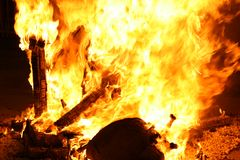 Burning Falla in Valencia. Fire. Royalty Free Stock Image