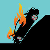 Burning falling down car. Car crash pole accident and burning car in Silhouette mode on vector style Stock Images